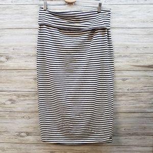 Roxy Navy and Cream Striped Midi Skirt